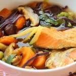 Supa de somon cu ciuperci shiitake